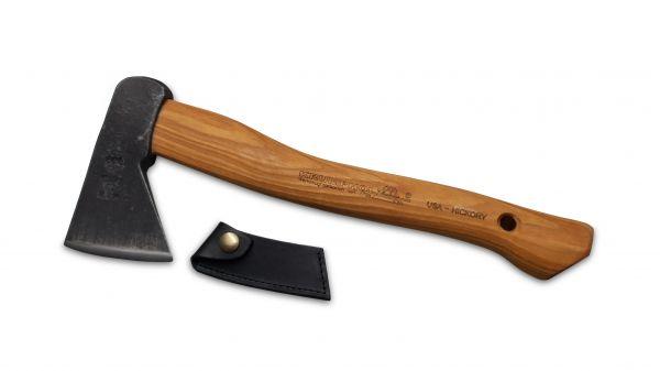 Krumpholz Wildererbeil mit Lederschutz, 36cm Hickory-Kuhfuß-Stiel, Kopfgewicht: 600g