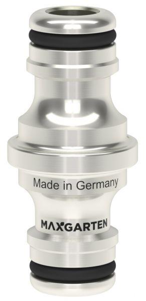 MaxGarten Doppelstecker robust, Messing vernickelt, kompatibel