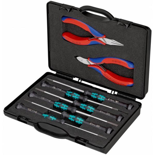 KNIPEX Elektronikzangen-Set 00 20 18 mit Werkzeugen für Arbeiten an elektronischen Bauteilen