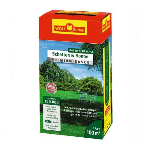 """WOLF-Garten LP 100m² Premium Rasen """"Schatten & Sonne"""", Rasen-Samen"""