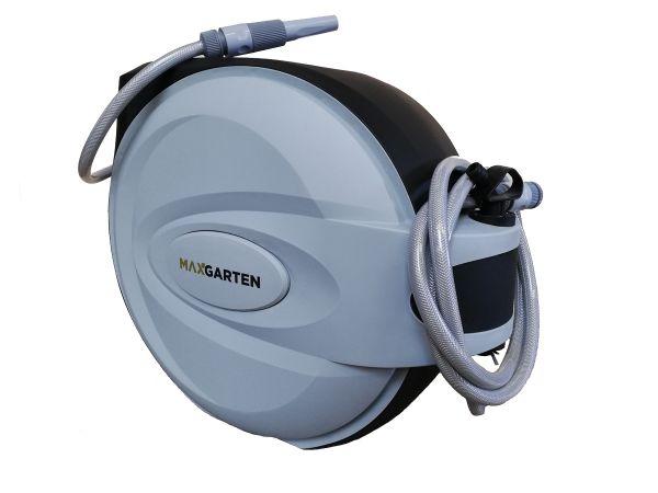 maxGarten Schlauchaufroller Wasserschlauchaufroller Kunststoff grau inkl. Schlauch und Düse, Wandmon