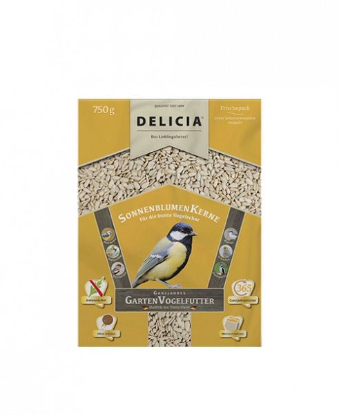 DELICIA Sonnenblumenkerne Gartenvogelfutter 750 g